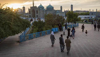 People visit Blue Mosque in Mazar-e-Sharif, Afghanistan