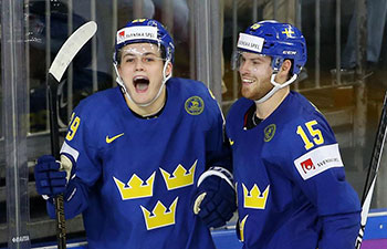 Sweden overpowers Denmark 4-2 at Ice Hockey World Championship Preliminary Round