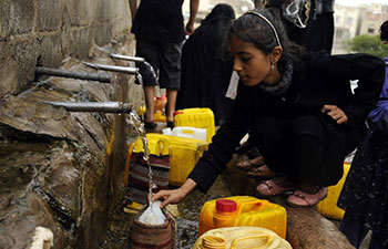 People face clean water shortage in Sanaa, Yemen