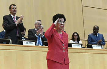 Margaret Chan delivers speech at 70th WHA in Geneva