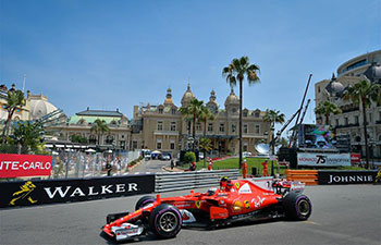Drivers compete during 1st practice session of Formula One Monaco Grand Prix