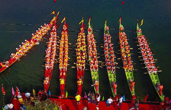 Dragon boat competition held in east China's Anhui