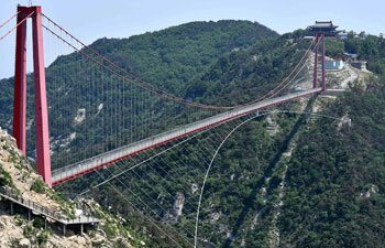 Glass suspension bridge opens to public in east China