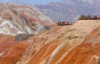 Tourists visit Danxia National Geological Park in NW China