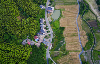 Aerial view of Liutang Village of Anji City, E China's Zhejiang