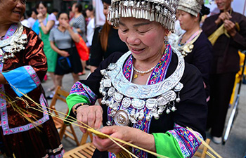 Traditional crafts presented during intangible cultural heritage show in Guangxi