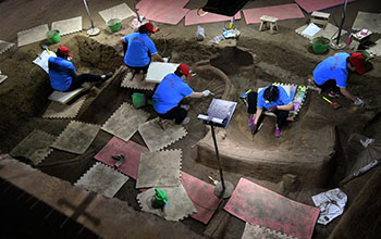 Inside excavation site of Zheng State tomb in central China