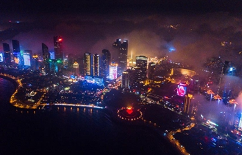 Night scene in east China's Qingdao
