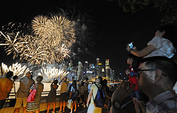 National day parade rehearsal held in Singapore's Marina Bay