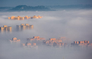 Buildings shrouded by advection clouds in Chongqing, SW China