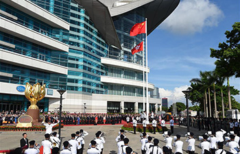 Flag-raising ceremony held to celebrate 20th anniv. of HK's return to motherland