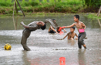 Funny mud splashing event held in E China