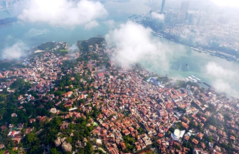 Aerial photos show historic buildings on Gulangyu island, SE China