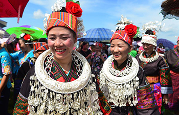 People of Miao ethnic group celebrate rain praying festival in SW China's Guizhou