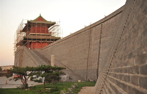 Ancient city wall under repair in N China's Hebei