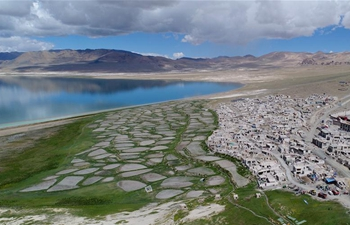 Scenery of Tangra Yumco Lake at Nancun Village, Tibet