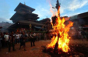 People observe Ghantakarna Festival in Nepal