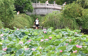 People enjoy lotus flowers at Xihu Park