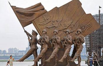 Sculpture plaza in E China marking PLA founding open to public