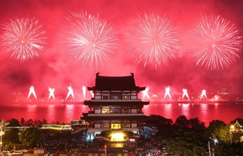 China's Hunan holds firework show marking PLA founding anniv.