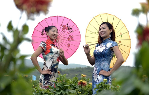 Cheongsam lovers participate in show in N China