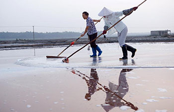 Workers collect salt at Shanyao saltworks in China's Fujian