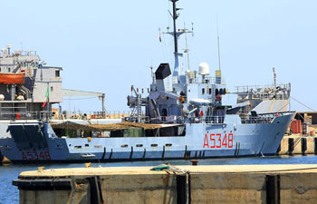 Italian Navy vessel moors at Libyan naval base
