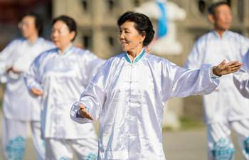 Elderly people practice Taiji in Inner Mongolia