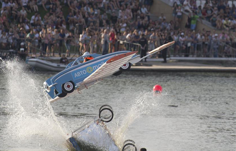 Makeshift aircraft jump event held in Moscow, Russia