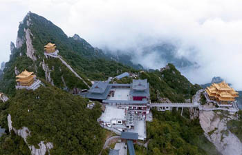 Aerial view of Laojun Mountain scenic area in C China's Henan