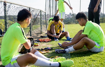 Chinese players trained in Luneng Brazil Sports Center