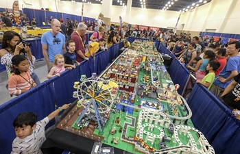 Children attend Brick Fest Live LEGO Fan Experience in Pasadena, U.S.