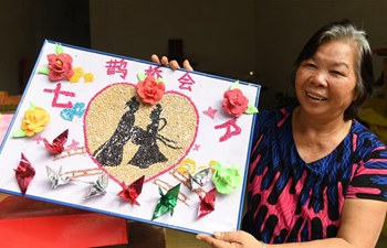 Rice paintings made to greet Qixi Festival in S China