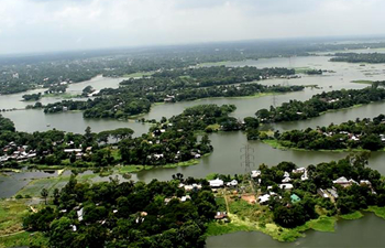 Aerial view of flood-hit areas in Bangladesh