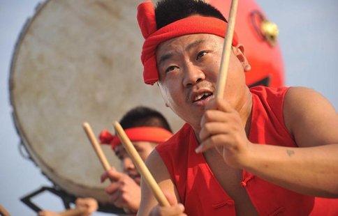 Drumers practise intangible heritage music in N China's Shanxi