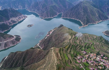 Scenery of Jiudian Gorge in NW China's Gansu