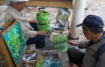 Retired people join in Friday Painting Club in SW China