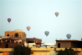 Tourists take hot air balloon tour in Luxor, Egypt
