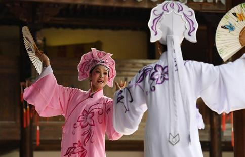 Actors perform Chinese traditional Shaoxing Opera in Zhejiang