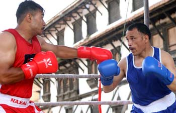 Players compete in National Level Open Boxing Competition in Nepal