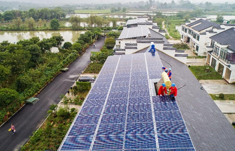 Scenery of photovoltaics on roof of Beitang Village in E China's Zhejiang