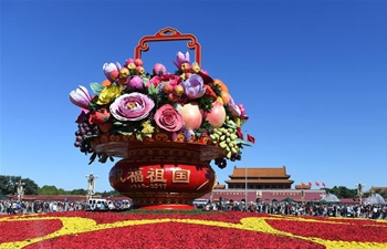 Flower basket displayed at Tiananmen Square for celebration of National Day