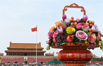 Beijing decorated with flowers for China's National Day