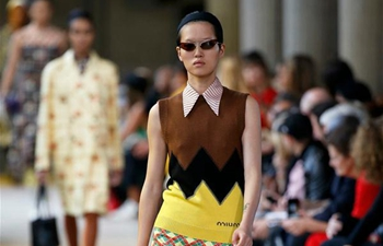 Creations of Miu Miu staged at fashion week in Paris