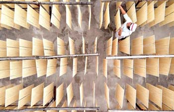 Worker dries noodles in Kaili, SW China