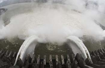 Water discharging from Three Gorges Dam