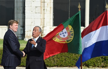 Portuguese president greets visiting Dutch king in Lisbon