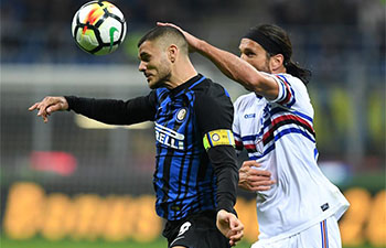 Inter Milan defeats Sampdoria 3-2 in Serie A soccer match