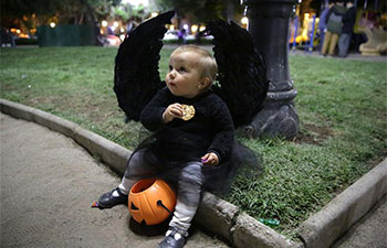 Kids celebrate Halloween in Santiago, Chile