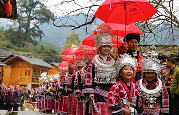 Miao ethnic group celebrates traditional New Year festival in S China